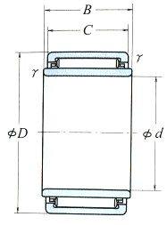 Solid Needle Roller Bearings Inscribed Circle Diameter 9-58mm